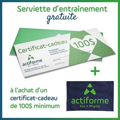 Certificat cadeau de 100$ - Promo serviette gratuite